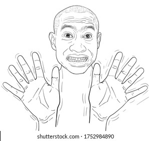 Drawing funny portrait of a man, denial, farcical expressions of Asian guy. vector illustration.