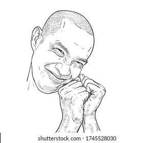 Drawing funny portrait of shy, modest,blushful face expressions of Asian guy. Vector illustration.