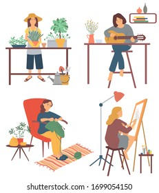 Drawing and gardening, playing guitar and knitting vector, hobby of people at home. Interest of person, guitarist with musical instrument developing skills