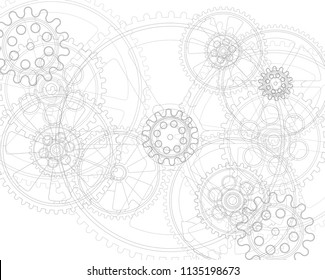 Drawing gears on a white background, vector illustration clip-art