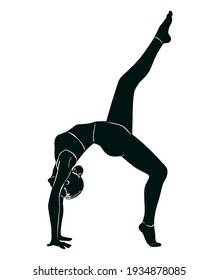 Drawing of a girl doing yoga. Appearance and lifestyle. Vector illustration in sketch style. Black silhouette.