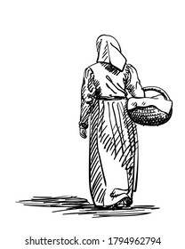 Drawing of a girl in old-fashion retro peasant dress walking away with basket, back view, Woman in vintage rural clothes, Hand drawn Vector illustration