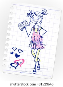 drawing a girl in a pink dress reading book. sketch school cute girl.Vector doodles on lined paper.