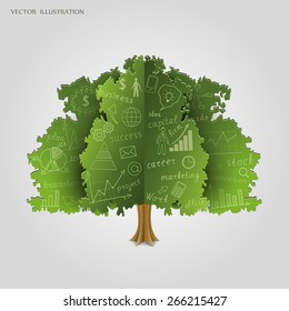 Drawing graphs and charts business strategy plan concept idea on an tree. Business concept. Vector illustration modern template design