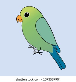 A drawing of a green parrot