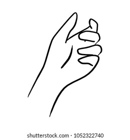 drawing hand holding something transparent vector illustration sketch hand drawn with black lines isolated on white background