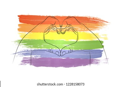 Drawing hand on a watercolor rainbow flag of Gay Pride Movement, homosexuality emblem isolated on white background. LGBT flag against homosexual discrimination. LGBT rights concept. Cards design. EPS