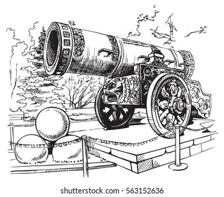 Drawing hand on a white background Tsar Cannon Moscow Kremlin