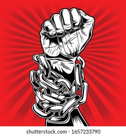 Drawing hand -Punch  chain Red vector 1