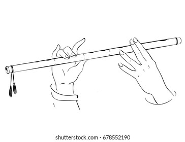 Drawing of hands playing on flute. Lord Krishna vector illustration for Happy Janmashtami, annual Hindu festival greetings.