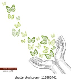 Drawing Hands releasing butterfly(Vector). jpg version also available
