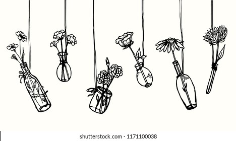 Drawing hanging flowers in vases and bottle. Interior decoration element for home or cafe. Wall print sketch..