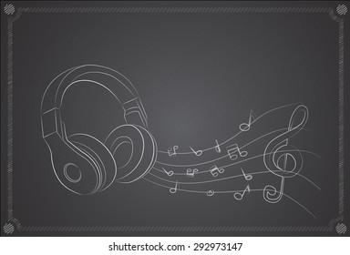 Drawing headphones on the blackboard