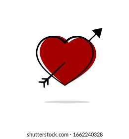 Drawing heart with arrow icon.Vector illustration.