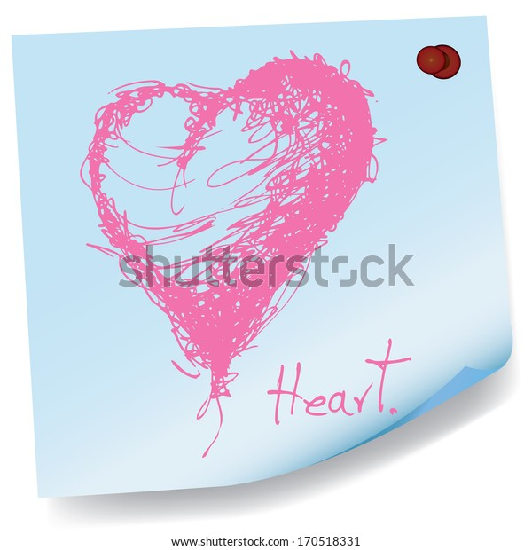 drawing of heart on sticky paper vector