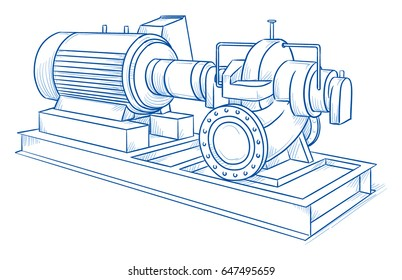 Drawing of an heavy industrial water pump. Hand drawn line art cartoon vector illustration.