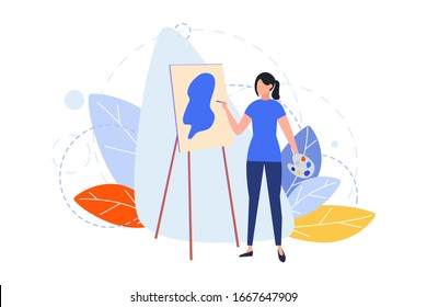 Drawing, hobby, creativity, occupation, design concept. Illustration of woman girl painter drawing picture at easel with paintbrush. Art image of people hobby, profession, lifestyle. Flat vector