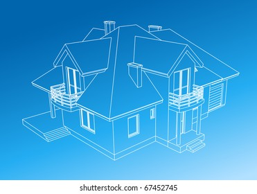 Drawing home on blue background.