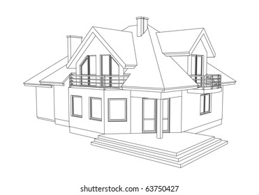 drawing of a home on white background