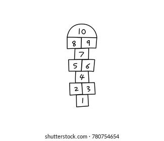 Drawing of a Hopscotch court or game, vector illustration.