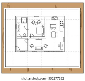 Drawing of a house with individual rooms such as a bathroom, toilet, bathroom, bedroom, kitchen and living room