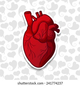 Drawing the human heart on background pattern of cartoon hearts. Vector
