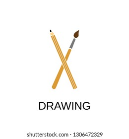 Drawing icon. Brush and pencil concept symbol design. Stock - Vector illustration can be used for web