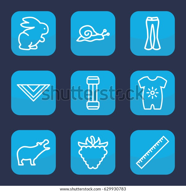 Drawing Icon Set 9 Outline Drawing Stock Image Download Now