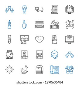 drawing icons set. Collection of drawing with heart, blueprint, eraser, bananas, sun, love birds, bird, fishbone, skeleton, cones, computer. Editable and scalable drawing icons.