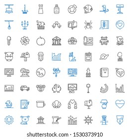 drawing icons set. Collection of drawing with pen, mailbox, sun, bar chart, literature, museum, rabbit, heart, lamp, seashell, potty, notepad. Editable and scalable drawing icons.