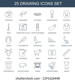 drawing icons. Trendy 25 drawing icons. Contain icons such as facepalm, kangaroo, children, woman pants, sad emot, rake, download cloud, sport expander. drawing icon for web and mobile.
