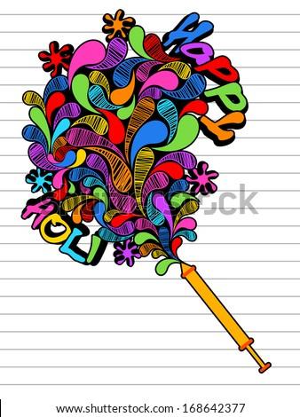 Drawing Indian Festival Happy Holi Celebration Stock Vector Royalty