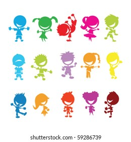 drawing of isolated colorful kids on white background