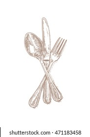 Drawing of isolated cutlery on the white background