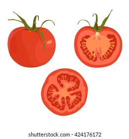 Drawing isolated on the white background of a whole ripe red tomato and sliced tomato. Production, processing, selling, juice, seasoning.