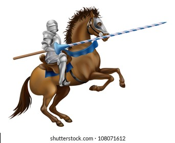 Drawing of a jousting knight in armour on horse back.