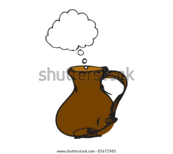 drawing of a jug with speech bubbles