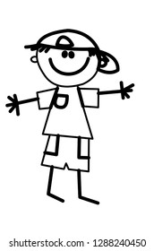 drawing kid vector - happy kids sketch - animation - cartoon , school boy and girl , check our page for more sketchs. character boy , character girl