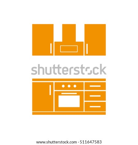 Drawing Kitchen Interior Plan Icon Vector Stock Vector Royalty Free
