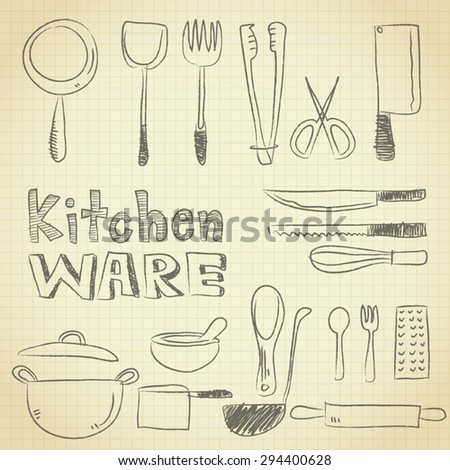 drawing kitchenware equipment on grid paper stock vector royalty