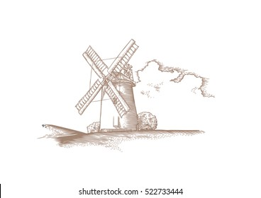 Drawing of landscape with stone windmill and cloud