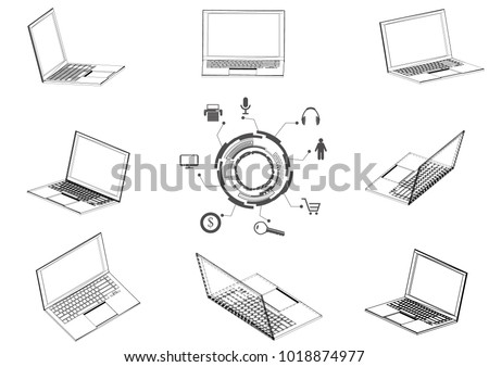 drawing laptop on white background 3 d stock vector 1018874977 camera  tripod diagram drawing laptop on roku wiring diagram