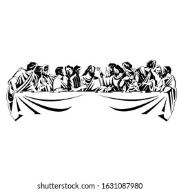 Drawing of the last supper. Made in black