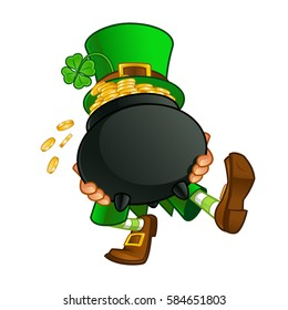Drawing of a leprechaun, he is carrying a pot with gold coins
