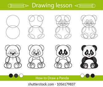 Drawing lesson for children. How draw a panda. Step by step repeats the picture. Drawing tutorial with funny cartoon bear. Kids activity art page. Vector illustration.