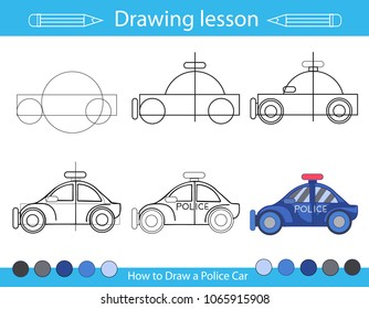 Drawing lesson for children. How draw a police car. Step by step repeats the picture. Drawing tutorial with the auto. Kids activity art page. Vector illustration.