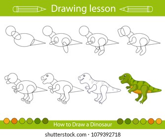 Drawing lesson for children. How draw a dinosaur. Step by step repeats the picture. Drawing tutorial with funny cartoon dragon. Kids activity art page. Vector illustration.