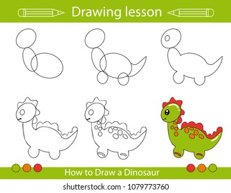 Drawing lesson for children. How draw a cartoon dinosaur. Drawing tutorial with funny cartoon dragon. Step by step repeats the picture. Kids activity art page for book. Vector illustration.