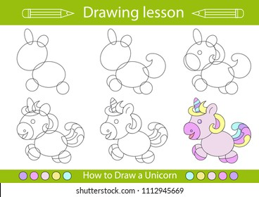 Drawing lesson for children. How draw a cartoon cute unicorn. Drawing tutorial with funny cartoon horse. Step by step repeats the picture. Kids activity page for book. Vector illustration.