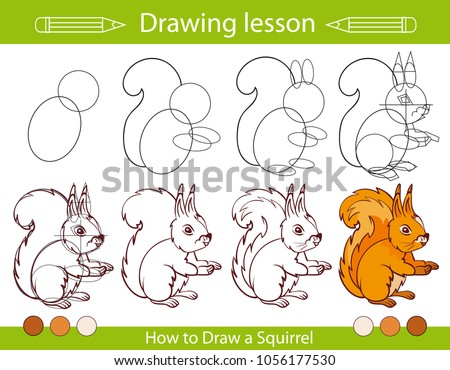 drawing lesson children how draw squirrel stock vector royalty free